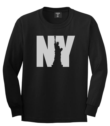 NY Statue Of Liberty Mens Long Sleeve T-Shirt Black