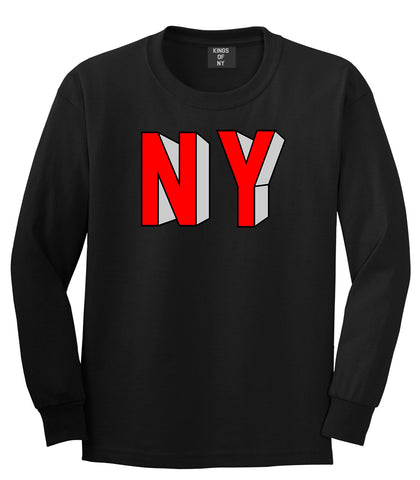 NY Block Letters Long Sleeve T-Shirt in Black