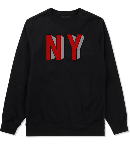 NY Block Letters Crewneck Sweatshirt in Black