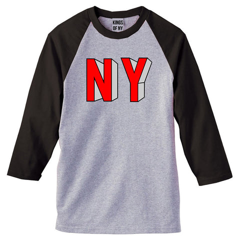 NY Block Letters 3/4 Sleeve Raglan T-Shirt in Grey