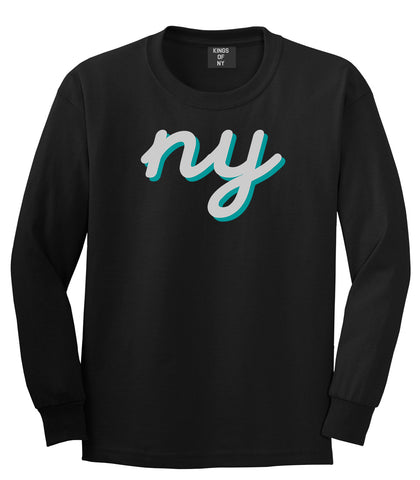 NY lower case script Long Sleeve T-Shirt in Black