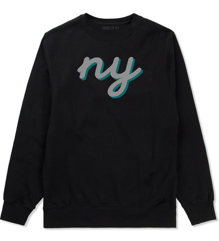 NY lower case script Crewneck Sweatshirt in Black