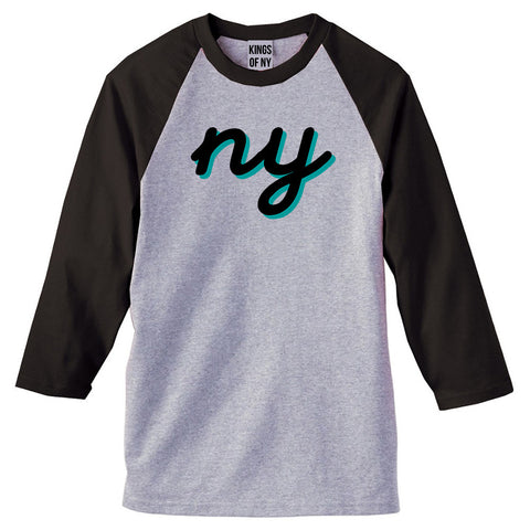 NY lower case script 3/4 Sleeve Raglan T-Shirt in Grey