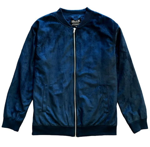 Navy Blue Faux Suede Mens Bomber Jacket