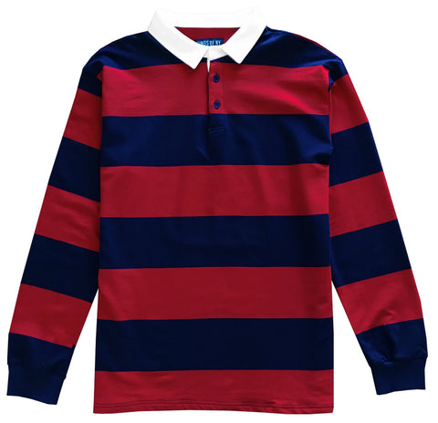 Navy Blue and Red Comfortable Stretch Striped Mens Rugby Shirt