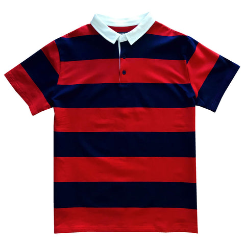 Navy Blue and Red Short Sleeve Striped Men's Rugby Shirt