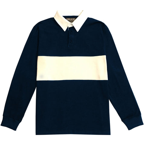 Mens Navy Blue and White Striped Long Sleeve Polo Rugby Shirt
