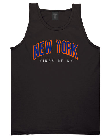 New York Blue And Orange Mens Tank Top Shirt Black by Kings Of NY