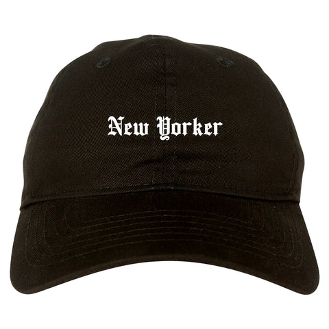 New Yorker Old English Mens Dad Hat Baseball Cap Black