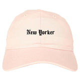 New Yorker Old English Mens Dad Hat Baseball Cap Pink
