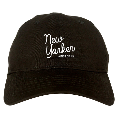 New Yorker Script Mens Dad Hat Baseball Cap Black
