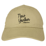 New Yorker Script Mens Dad Hat Baseball Cap Tan