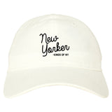New Yorker Script Mens Dad Hat Baseball Cap White