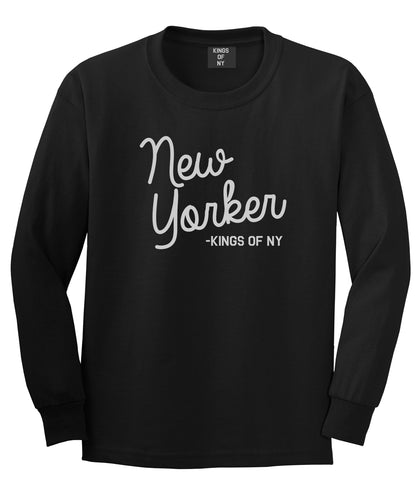 New Yorker Script Mens Long Sleeve T-Shirt Black by Kings Of NY