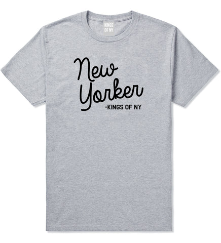 New Yorker Script Mens T-Shirt Grey by Kings Of NY