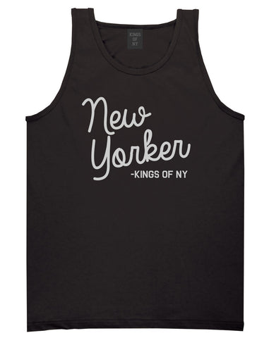New Yorker Script Mens Tank Top Shirt Black by Kings Of NY