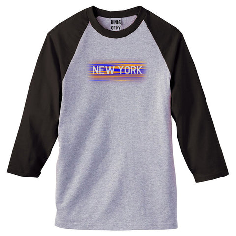New York Hometeam 3/4 Sleeve Raglan T-Shirt in Grey