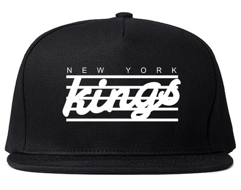 New York Kings Stripes Snapback Hat Cap in Black