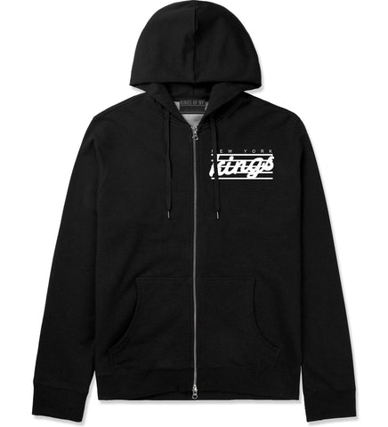 New York Kings Stripes Zip Up Hoodie in Black