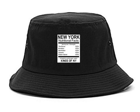 New York Nutritional Facts Black Bucket Hat
