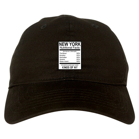 New York Nutritional Facts Black Dad Hat