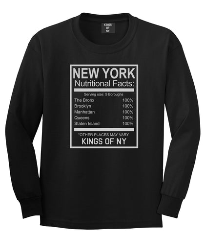 New York Nutritional Facts Long Sleeve T-Shirt in Black