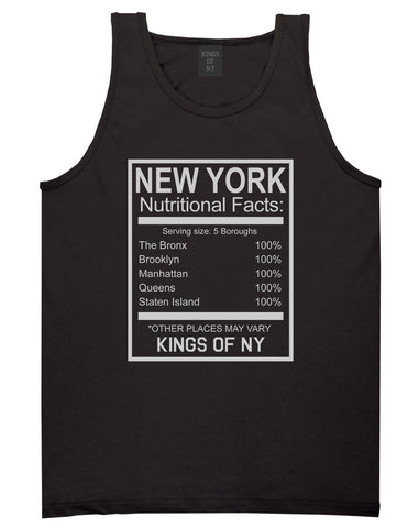 New York Nutritional Facts Tank Top Shirt in Black