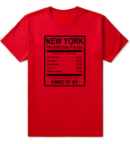 New York Nutritional Facts T-Shirt in Red