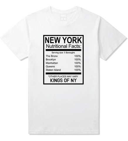 New York Nutritional Facts T-Shirt in White