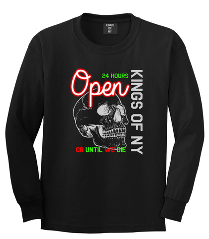 Open 24 Hours Sign Skull Mens Long Sleeve T-Shirt Black by Kings Of NY