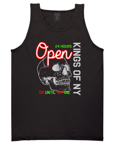 Open 24 Hours Sign Skull Mens Tank Top Shirt Black by Kings Of NY