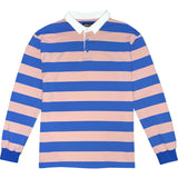 Pink And Blue Striped Mens Long Sleeve Rugby Shirt