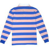Pink And Blue Striped Mens Long Sleeve Rugby Shirt Back