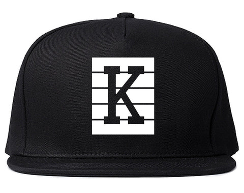 Pink K Blocks Snapback Hat Cap in Black