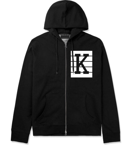 Pink K Blocks Zip Up Hoodie in Black