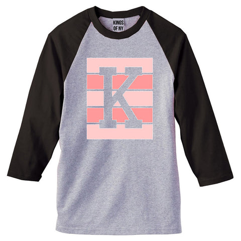 Pink K Blocks 3/4 Sleeve Raglan T-Shirt in Grey