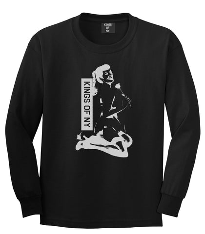 Pinup Girl Rose Long Sleeve T-Shirt in Black