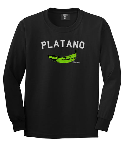 Platano Dominican Artwork DR Mens Long Sleeve T-Shirt Black
