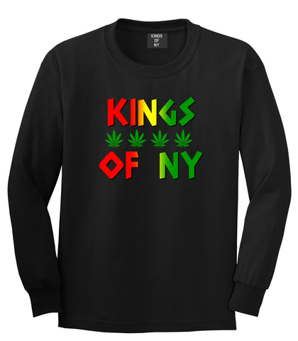 Puff Puff Pass Mens Long Sleeve T-Shirt Black by Kings Of NY
