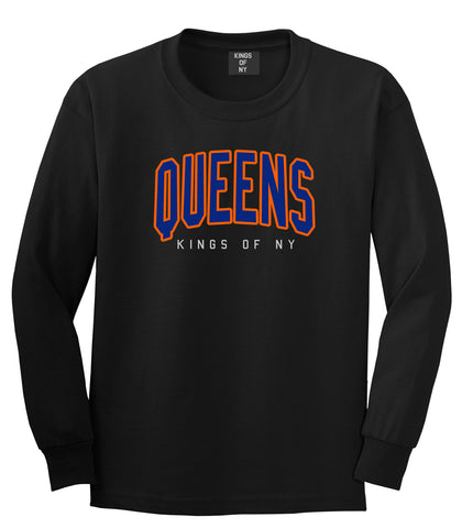 Queens Blue Orange Mens Long Sleeve T-Shirt Black by Kings Of NY
