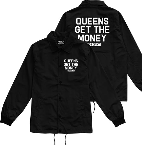 Queens Get The Money Mens Coaches Jacket Black by Kings Of NY