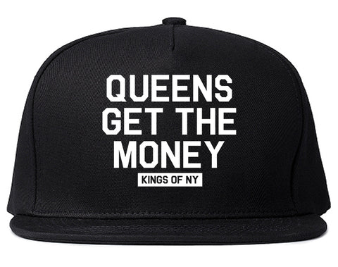 Queens Get The Money Mens Snapback Hat Black