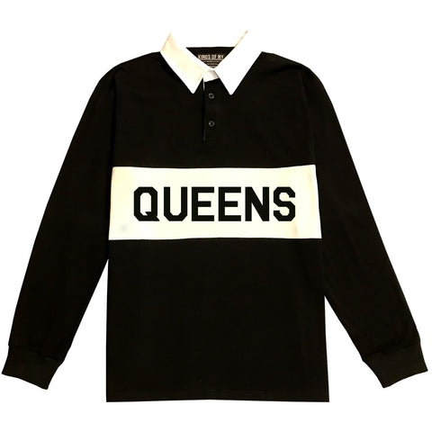 Black Queens New York Striped Mens Long Sleeve Rugby Shirt