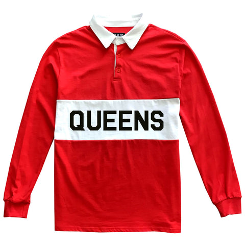 Red Queens New York Striped Mens Long Sleeve Rugby Shirt
