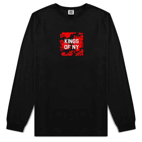 Red Floral Box Logo Mens Long Sleeve T-Shirt Black