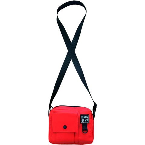 Red Front Pocket Mens Canvas Crossbody Sling Bag