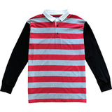 Red and Grey Striped Mens Rugby Shirt