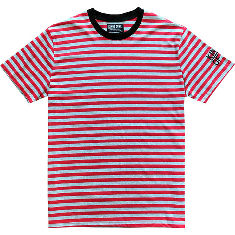 Red and Grey Striped Mens T-Shirt