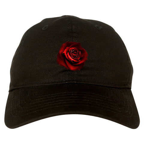 Red_Rose_Pattern Black Dad Hat
