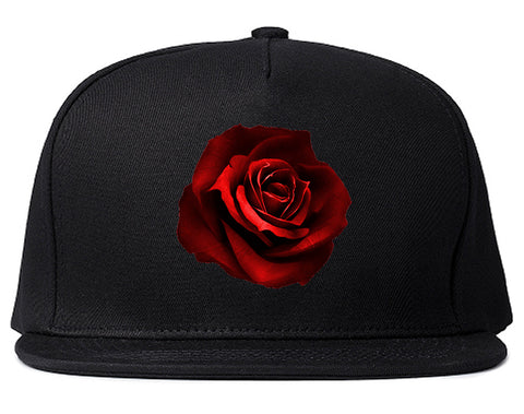 Red_Rose_Pattern Black Snapback Hat